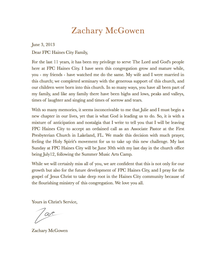 Letter to My Church Family